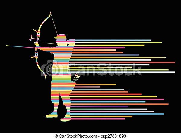 courber, concept, archer, arc, vecteur, fond, homme - csp27801893