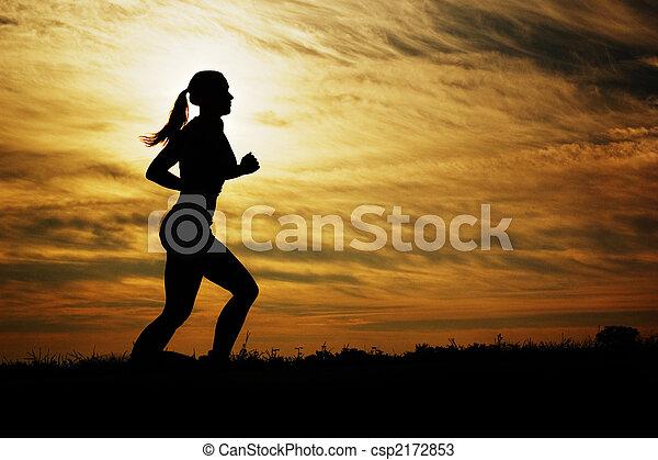 coureur, coucher soleil - csp2172853