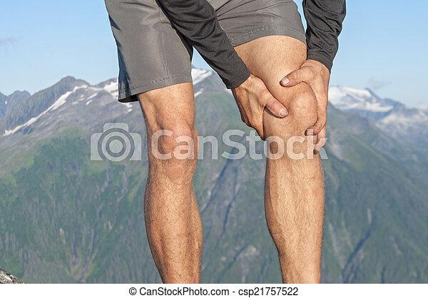 coureur, genou, douleur - csp21757522