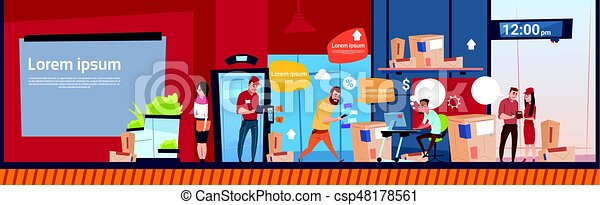 Courier Man And Woman Carry Boxes Delivery Package Post Service Warehouse Interior Banner Copy Space - csp48178561