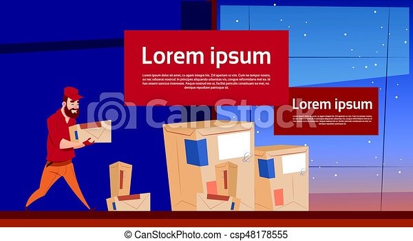 Courier Man Carry Box Delivery Package Post Service Banner Copy Space - csp48178555