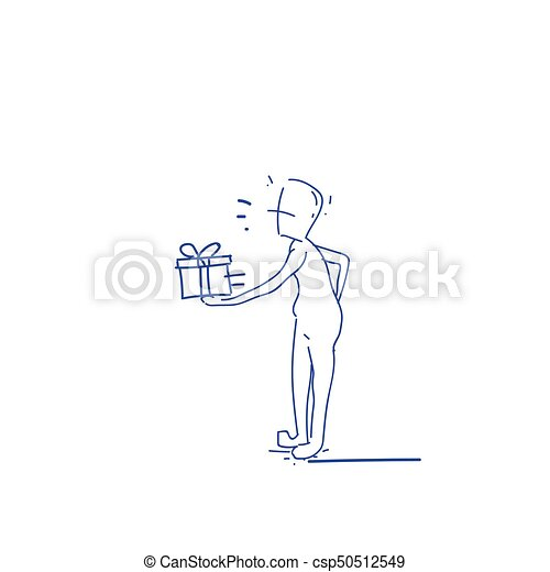 Courier Man Hold Gift Box Delivery Service Doodle - csp50512549