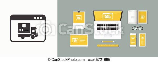Courier website button - Vector flat icon - csp45721695