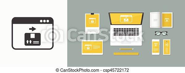 Courier website button - Vector flat icon - csp45722172