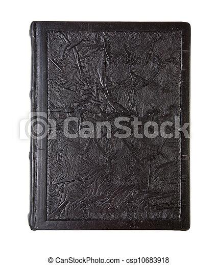 couro, antigas, amarrotado, livro, textura - csp10683918