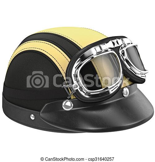 e8a310fce1289 Couro, capacete, óculos proteção, motociclista. Capacete, gráfico ...