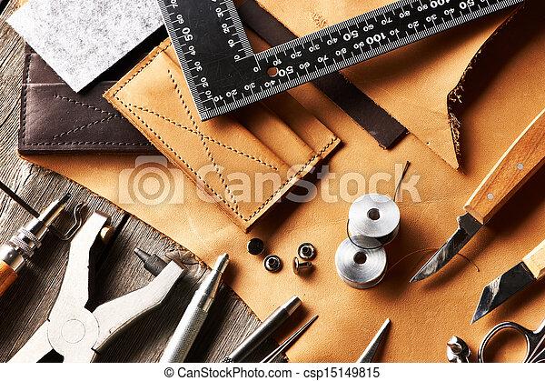 couro, crafting, ferramentas - csp15149815