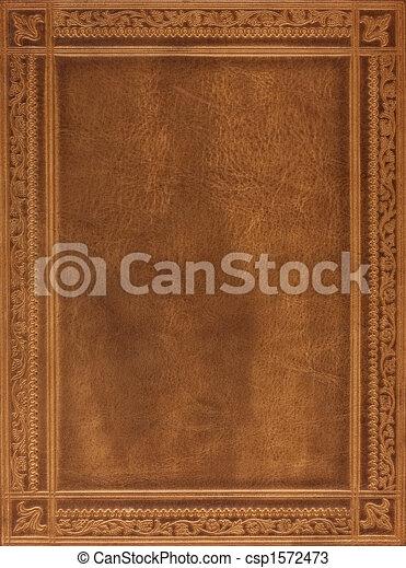 couro, marrom, capa livro - csp1572473