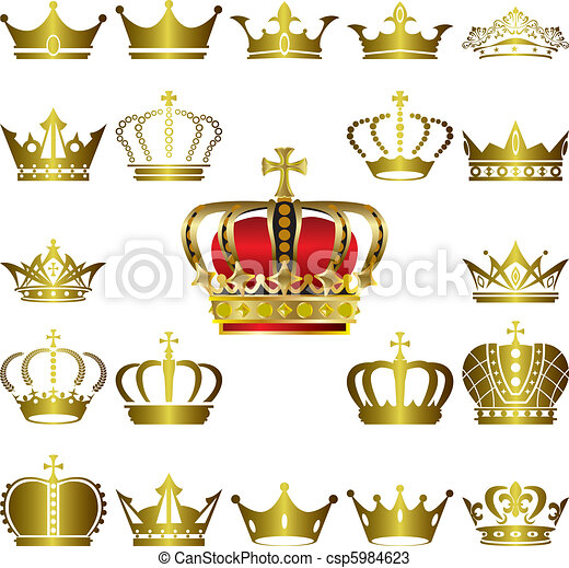 couronne, ensemble, diadème, icônes - csp5984623