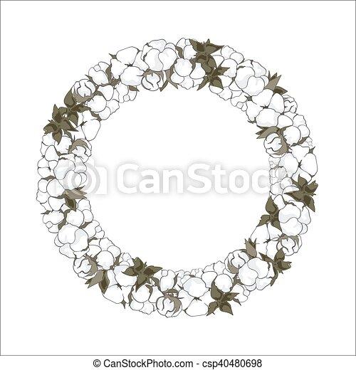 Couronne Fleurs Coton Frame Couronne Illustration Main