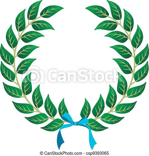 Couronne laurier gagnant bleu vecteur customisation - Clipart couronne ...
