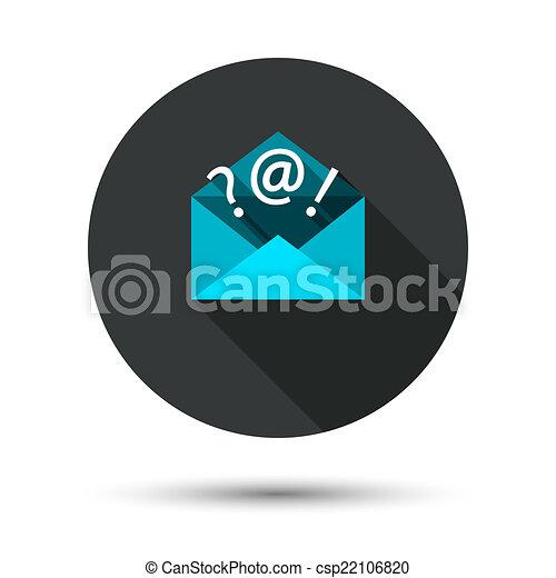 courrier, ombre, long, icône - csp22106820