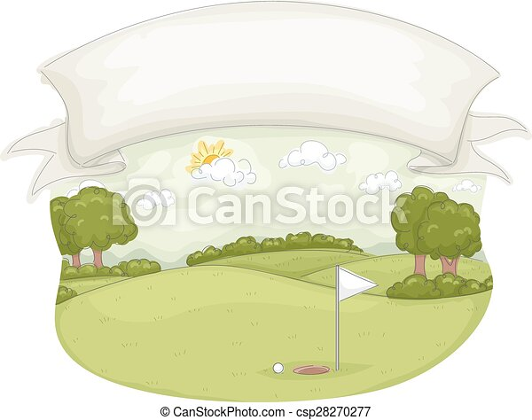 cours, bannière, golf - csp28270277