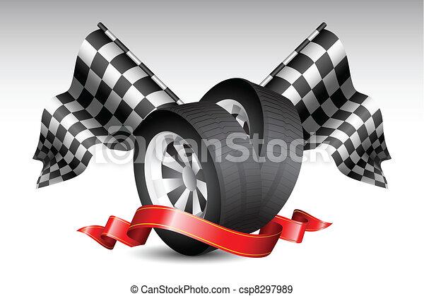 course, drapeaux, pneu - csp8297989
