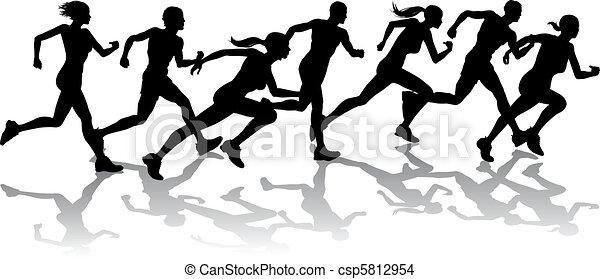 courses, coureurs - csp5812954