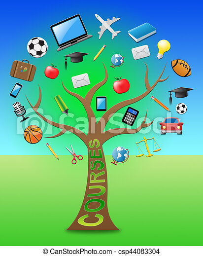Courses Tree Indicates Programme And Syllabus 3d Illustration