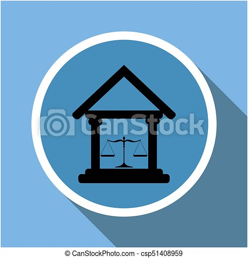 Court building icon with scales of justice in a circle frame with long shadow - csp51408959