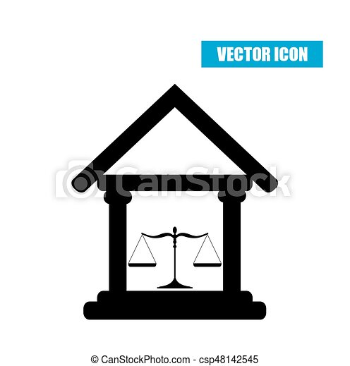 Court building icon with scales of justice isolated on white background - csp48142545