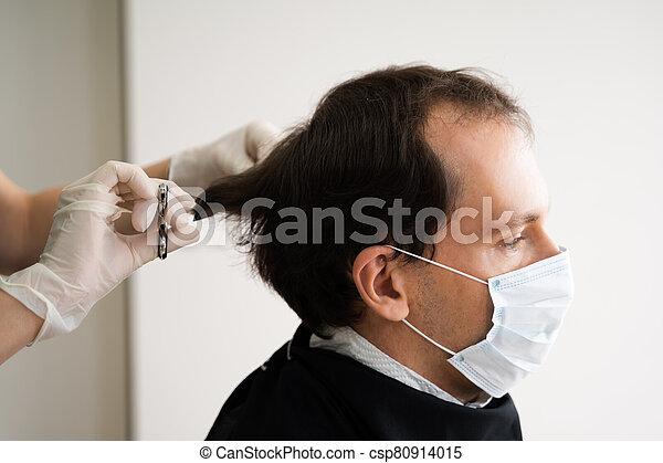 court, découpage, homme, salon cheveux - csp80914015