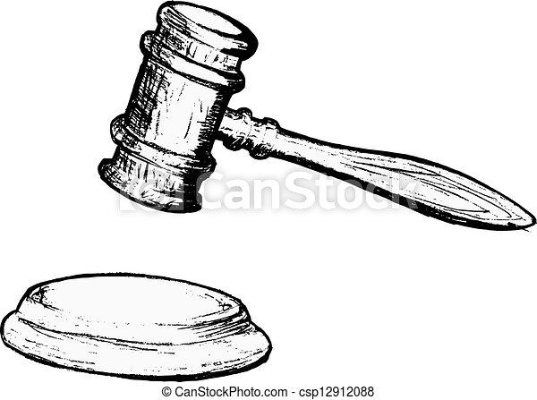 Hand Drawn Vector Sketch Illustration Of Court Gavel