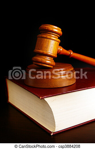 court gavel on top of  a law book - csp3884208
