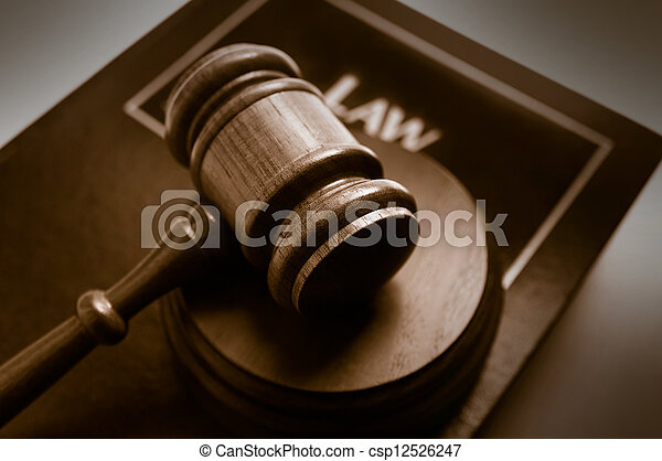 court gavel on top of a law book - csp12526247
