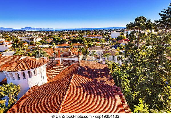Court House Buildings Orange Roofs Pacific Oecan Santa Barbara California  - csp19354133
