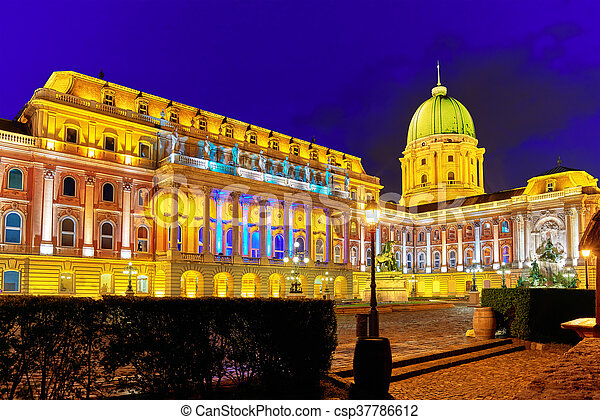 Courtyard of the Royal Palace in Budapest. Night time. Hungary. - csp37786612