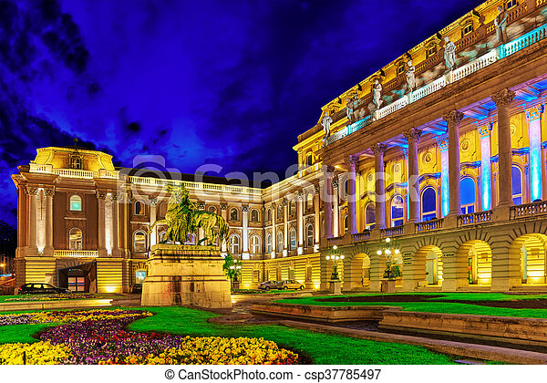 Courtyard of the Royal Palace in Budapest. Night time. Hungary. - csp37785497