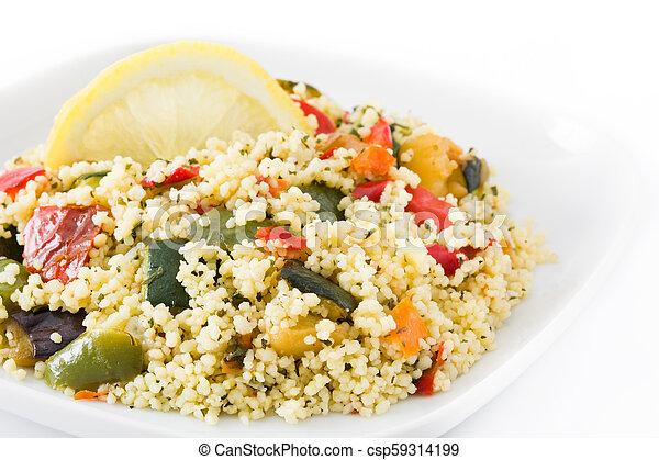 Cuscús con verduras aisladas en fondo blanco - csp59314199