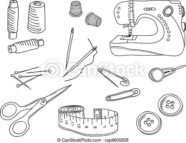 Couture outils illustration remplir couture - Dessin de couture ...