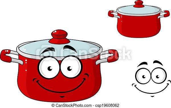 Dessin Casserole Cuisine couvercle, peu, cuisine, casserole, dessin animé, rouges. couvercle