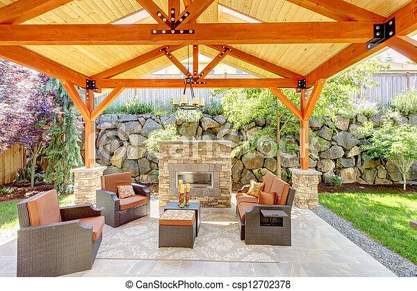 Couvert Patio Cheminée Extérieur Furniture Plafond Furniture