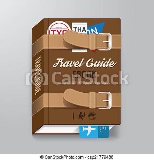Cover Book Travel Guide Design luggage Concept Template / can be - csp21779488