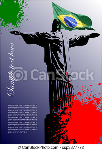 Cover for brochure with Brazilian image and Brazil flag - csp3377772