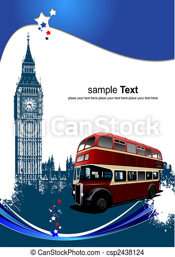 Cover for brochure with London images. Vector illustration - csp2438124