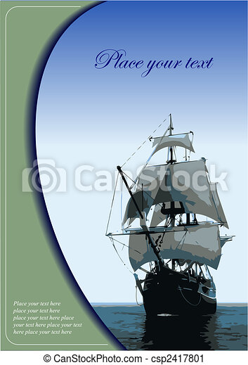 Cover for brochure with old sailing vessel - csp2417801