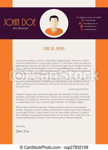 Cover Letter Design With Orange Purple Colors