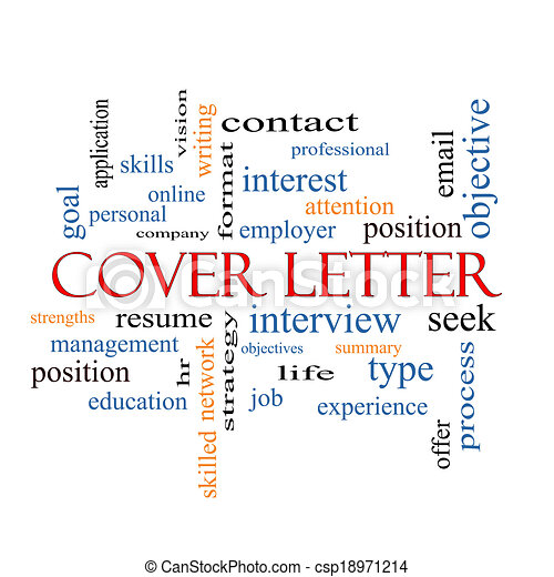 Cover letter word cloud concept with great terms such as... clipart ...