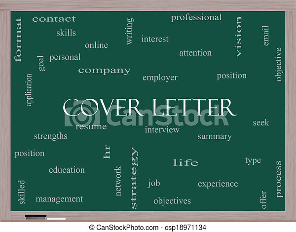 Cover Letter Word Cloud Concept On A Blackboard With Great Terms Such As Interview Resume Summary And More Canstock