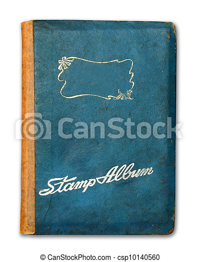 Cover of stamp album book isolated on white background