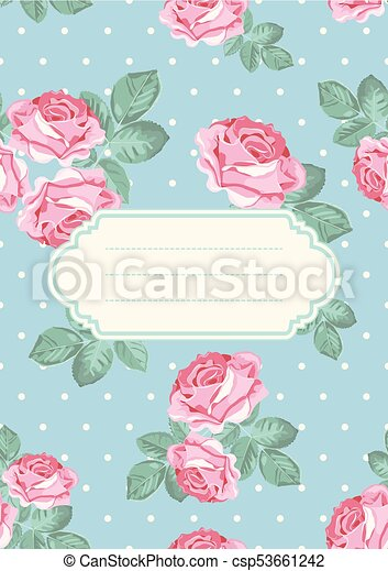 Cover Or Card Template Shabby Chic Rose Seamless Pattern On Blue Polka Dot Background