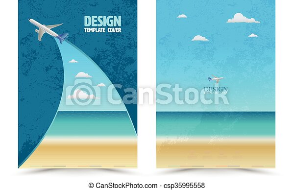 Cover page layout template with airplane vector illustration can