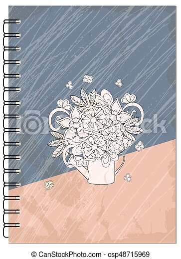 Cover Retro Design With Bouquet Of The Notebook Hand Drawn Abstract