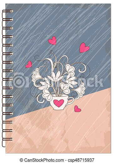 Cover Retro Design With Hearts Of The Notebook