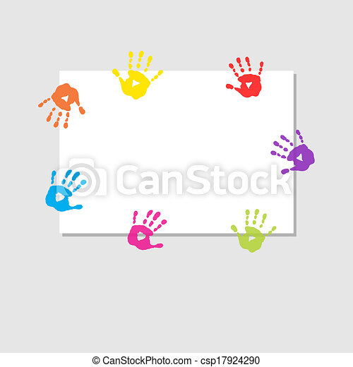 Cover sheet with prints of children's hands - csp17924290