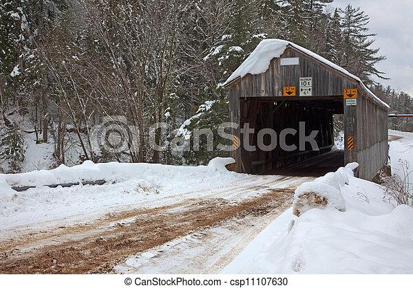 Covered Bridge in Winter - csp11107630