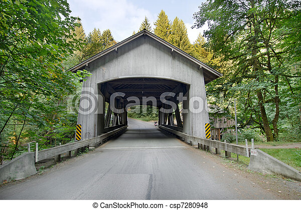 Covered Bridge over Cedar Creek in Washington - csp7280948