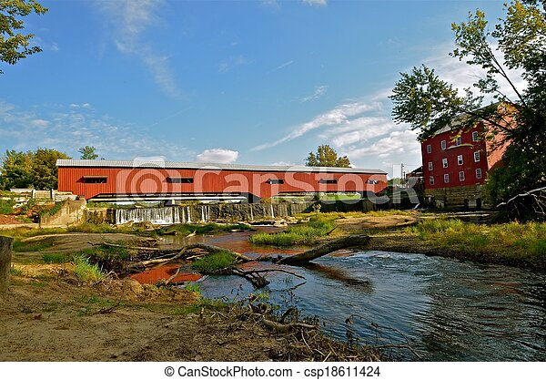 Covered Bridge Water Reflections  - csp18611424