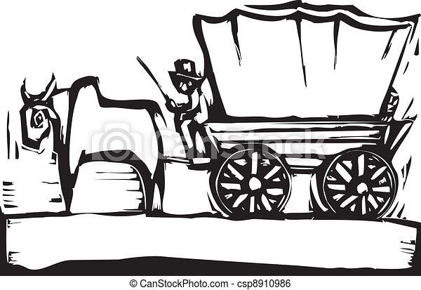 Black and White Covered Wagon - Royalty Free Clip Art Picture
